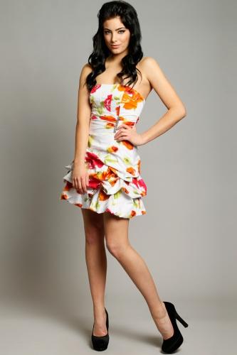 Ruffle Hem Flower Dress