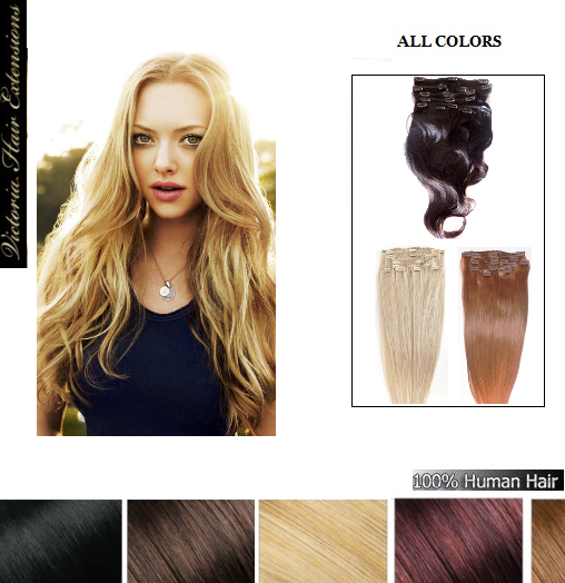 22inch 55cm clip in remy human hair extensions full head all colors pmusecretfo Images