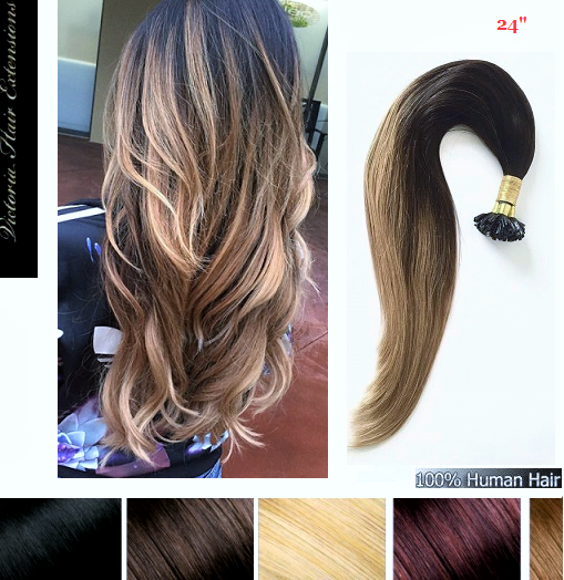 24 60cm OMBRE Pre Bonded Remy Nail Tip Hair Extensions 1g Each