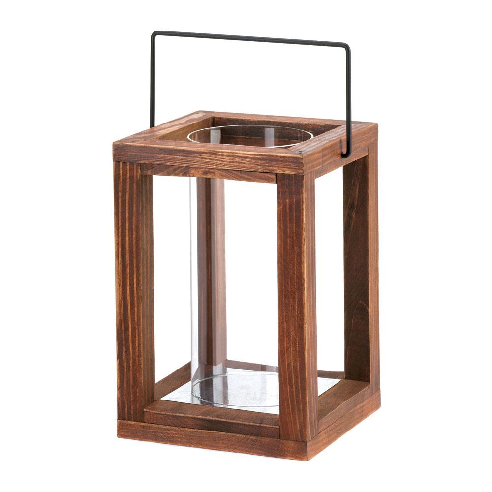 Rustic look garden wooden lantern for Wooden garden lanterns